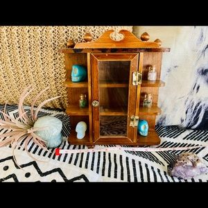 Vintage Knick Knack BoHo Wall Shelf Rack Crystals